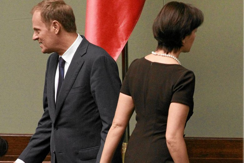 Joanna Mucha i Donald Tusk w Sejmie
