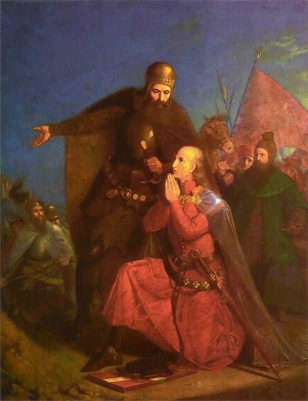 Władysław Jagiełło i Witold modlący się przed bitwą. Obraz Jana Matejki.