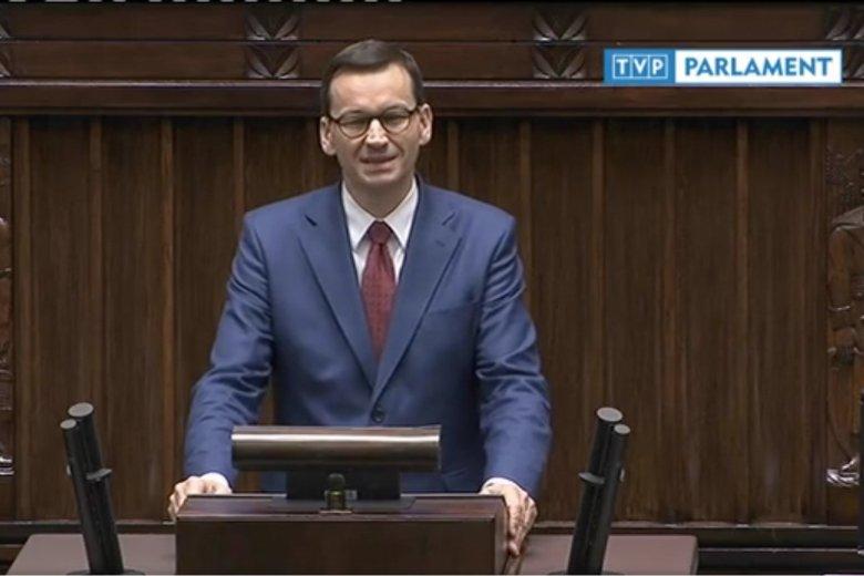 Premier Morawiecki atakował Platformę Obywatelską w przemówieniu przed debatą na temat zmian w prawie dotyczących pedofilii.