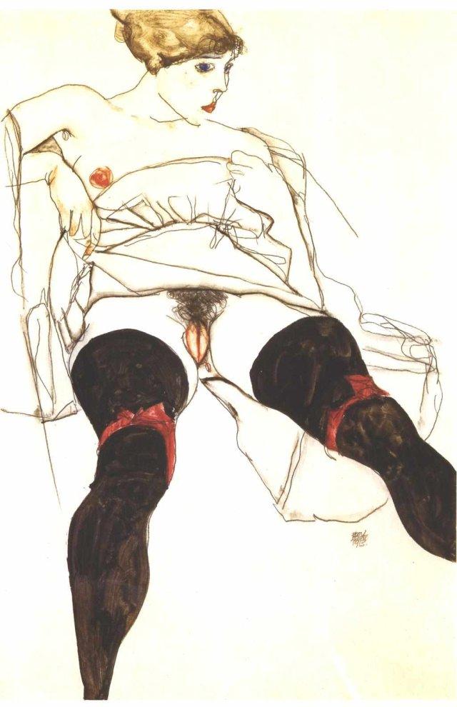Egon Schiele, Frau mit schwarzen Strümpfen, 1913