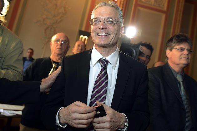 """Pomysłodawca inicjatywy obywatelskiej """"Abzocker Initiative"""" - Thomas Minder w chwili ogłoszenia wyników głosowania w dn. 3.3.2013"""