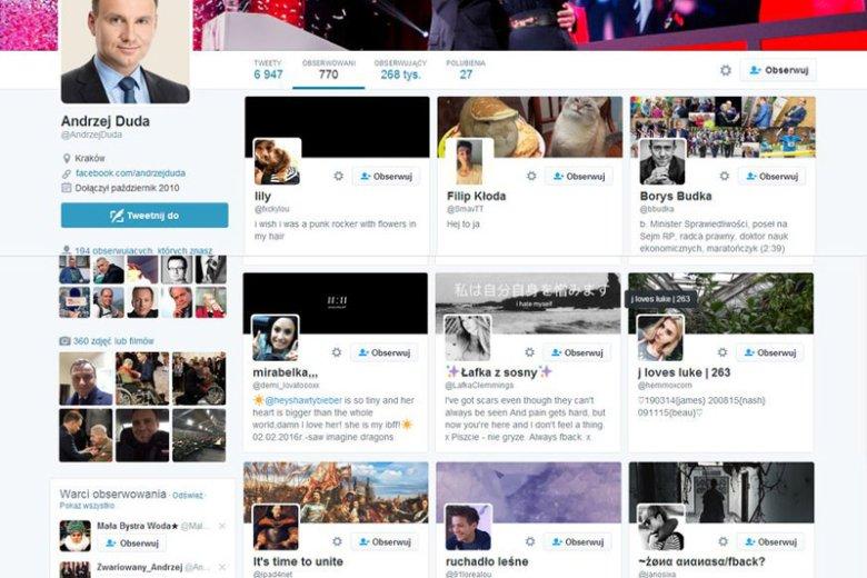 Grono obserwowanych przez prezydenta Andrzeja Dudę na Twitterze nie dodaje powagi urzędowi, który on sprawuje.