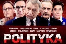 """Fragment plakatu filmu """"Polityka"""" Patryka Vegi."""