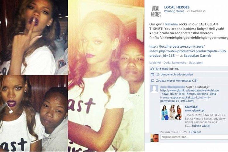 Na swojej stronie właścicielki Local Heroes chwalą się zdjęciami celebrytów noszących ich ubrania. Na zdjęciu Rihanna.