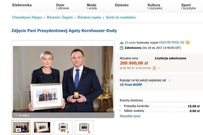 Zdjęcie przekazane przez Agatę Kornhauser-Dudę wylicytowano za 200 000 zł