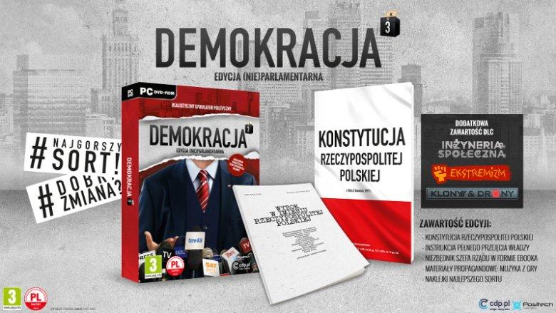 """""""Demokracja 3: Edycja (Nie)parlamentarna"""" to specjalna edycja kolekcjonerska gry strategicznej Positech Games, której zawartość odwołuje się do bieżących wydarzeń politycznych w Polsce. W dniu jej premiery ukaże się dodatek """"Polska 2015: Dobra zmiana"""""""