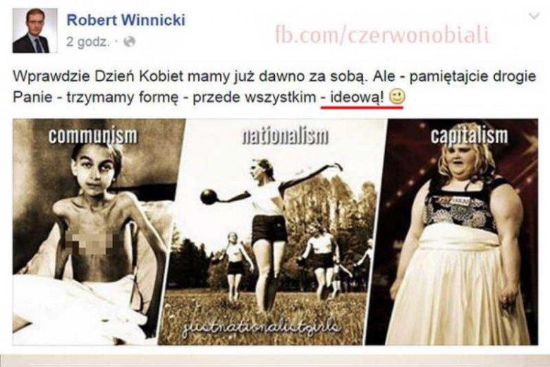 Robert Winnicki z Kukiz '15 umieścił na Facebooku zdjęcie członkini Hitlerjugend.