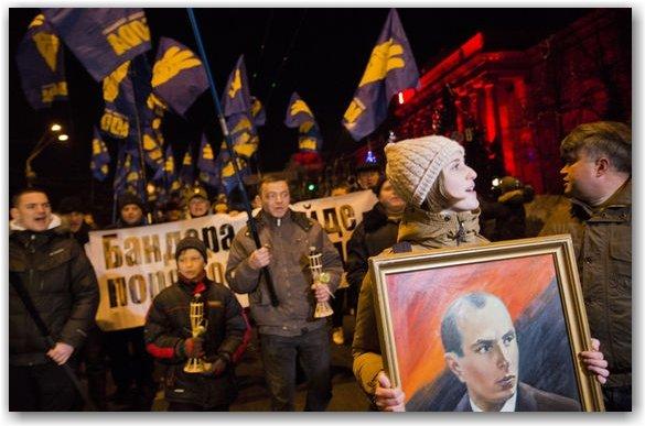 Manifestacja partii Swoboda, ku czci Stepana Bandery