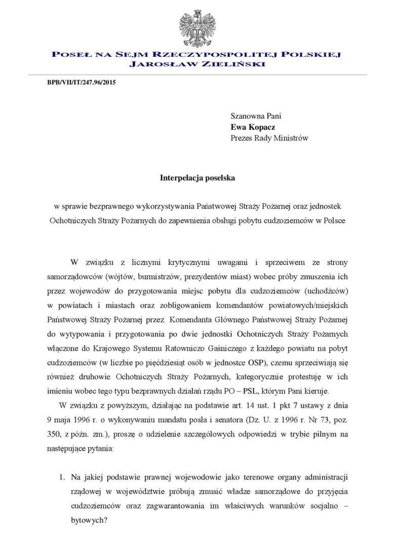 Interpelacja posła Zielińskiego