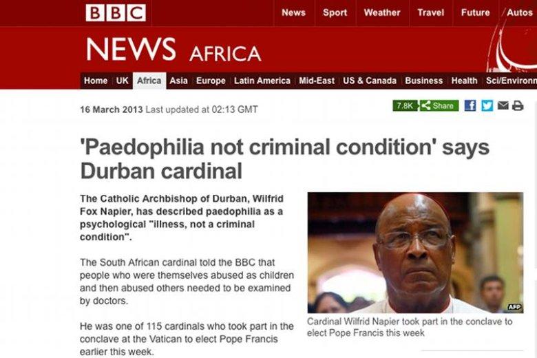Arcybiskup Durbanu Wilfred Fox Napier wzbudził kontrowersje swoją wypowiedzią o pedofilii.