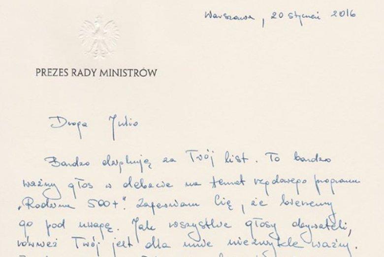 Fragment listu Beaty Szydło do 9-letniej Julii z Mikołowa.