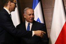 Premierzy Mateusz Morawiecki  i  Beniamin Netanjahu na konferencji bliskowschodniej w Warszawie.