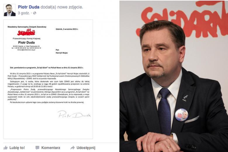 Piotr Duda żąda przeprosin, w sprawie pomówień o służbę w ZOMO.