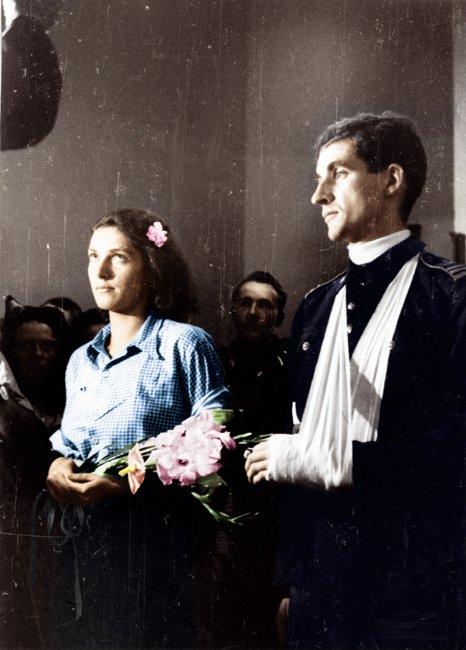 """Ślub  Alicji Treutler i Bolesława Biegi """"Pałąka"""", 13 sierpnia 1944 roku"""