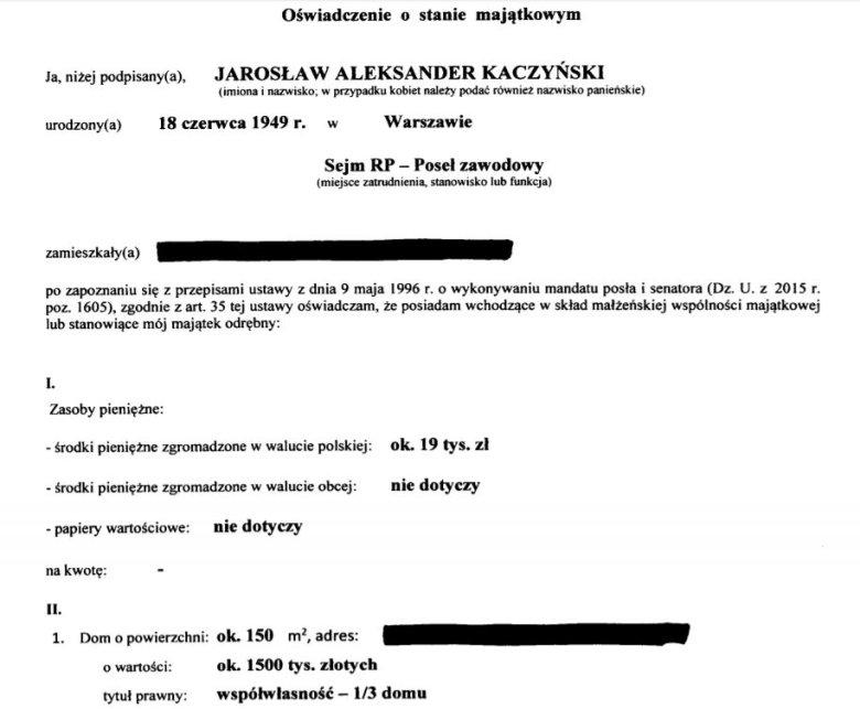 Fragment oświadczenia majątkowego Jarosława Kaczyńskiego z 2018 roku.