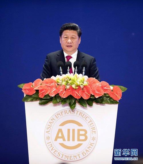 Przewodniczący ChRL Xi Jinping podczas ceremonii otwarcia Azjatyckiego Banku Inwestycji Infrastrukturalnych (AIIB)