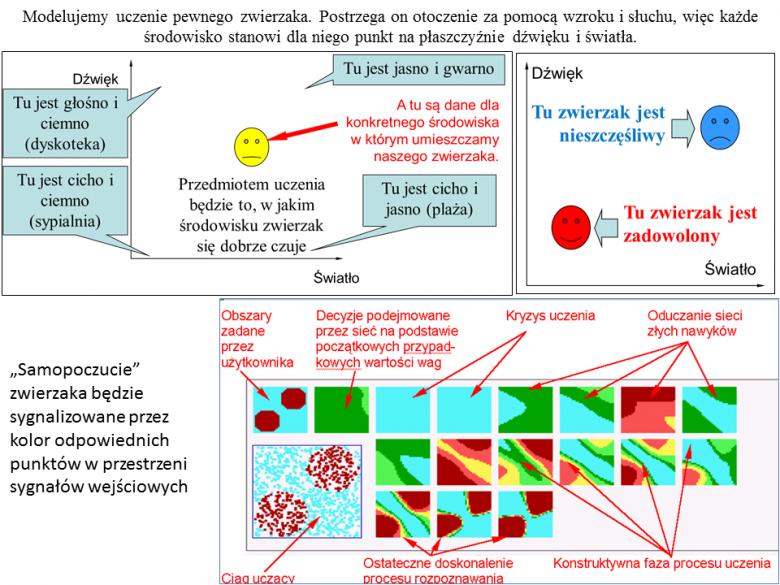 Jeden z eksperymentów opisanych w książce, pokazujących jak można wykorzystać udostępnione programy do modelowania sieci neuronowych