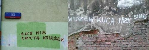 Niektóre z napisów powtarzają się w różnych częściach miasta