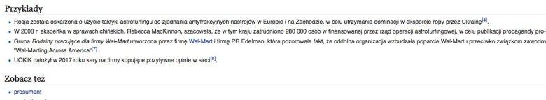 """Ostatnia wersja hasła """"astroturfing"""" w Wikipedii"""