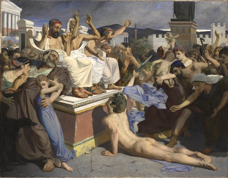 Fillippides po dotarciu z poselstwem do Aten. Obraz autorstwa Luca-Oliviera Mersona z 1869 roku.