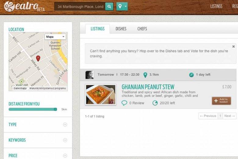 Tak wygląda eatro.com na którym można zamawiać dania od sąsiadów
