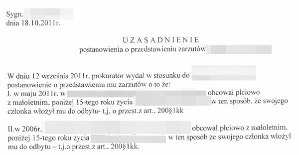 Fragment prokuratorskiej decyzji o postawieniu zarzutów panu Adamowi.