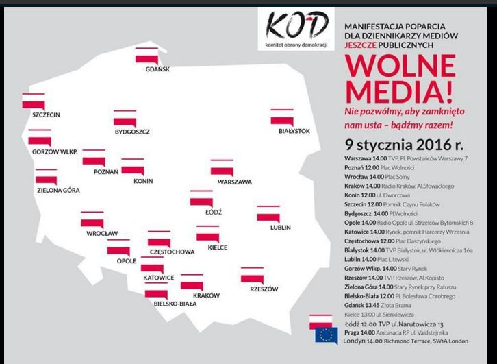 Miasta, w których odbywają się demonstracje.