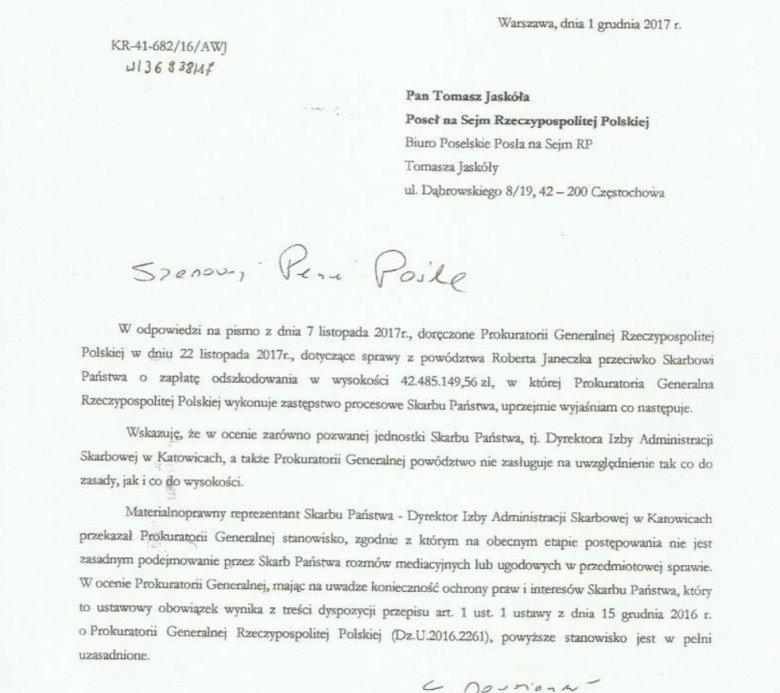 Fragment listu prezesa Prokuratorii Generalnej do posła Tomasza Jaskóły.