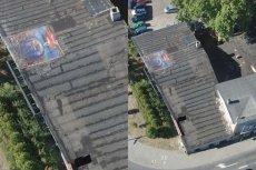 Dziurę dachu zabytkowej tłoczni załatano obrazem zielonogórskiego artysty Bogumiłą Hodera. Malarz i fotograf nie jest pomysłem zachwycony