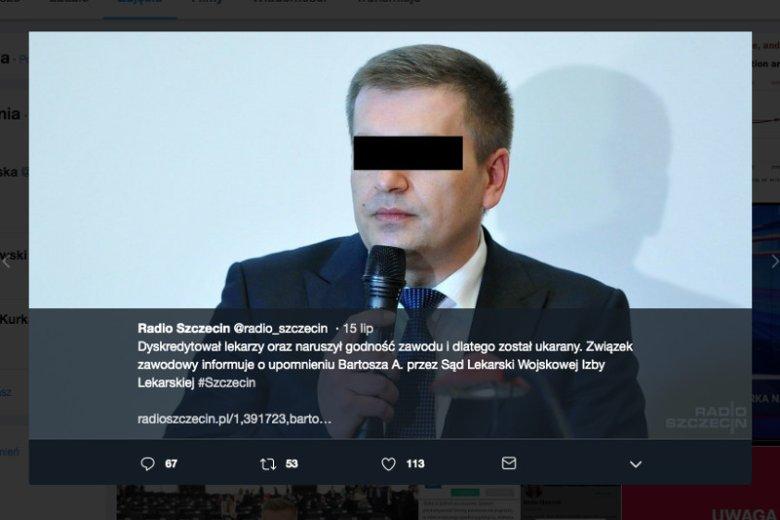 Radio Szczecin o decyzji Sądu Lekarskiego ws. Bartosza Arłukowicza.