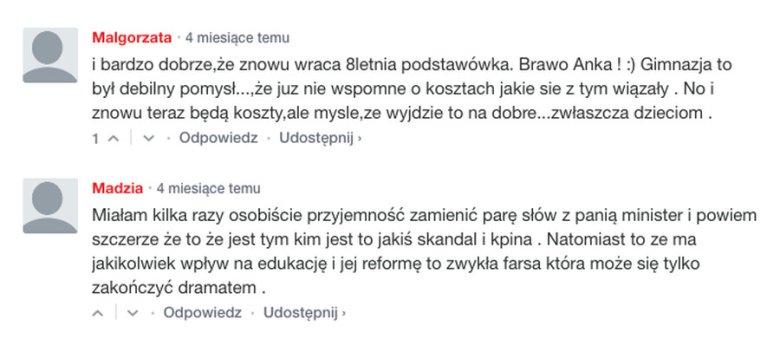 Komentarze z lokalnego portalu.