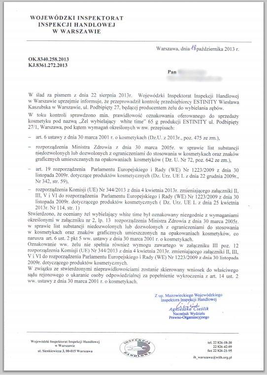 Pismo inspekcji handlowej informujące o skierowaniu sprawy firmy Estinity, producenta WhiteTime, do sądu, w celu ukarania za nieprawidłowości przy oznakowaniu produktu