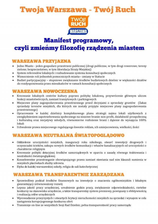 Manifest programowy TR Warszawa