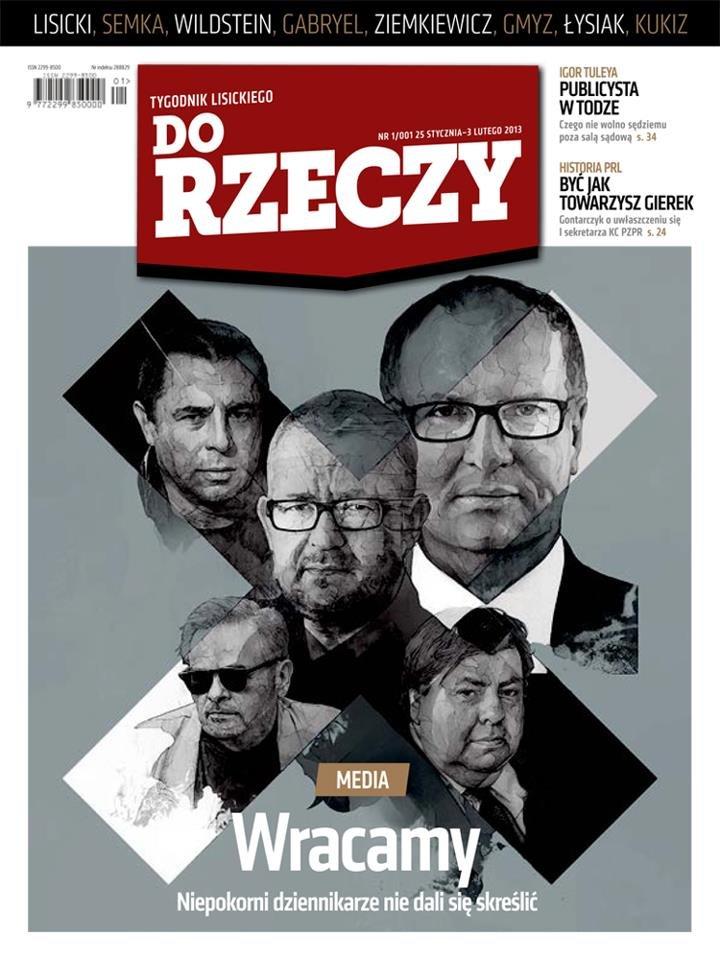 """Okładka pierwszego numeru tygodnika """"Do Rzeczy"""""""