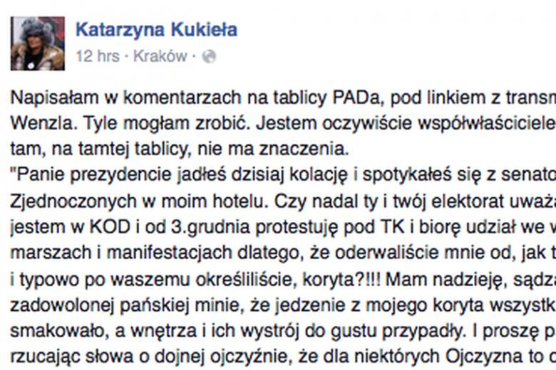 Katarzyna Kukieła, właścicielka hotelu, w którym Duda prowadziłrozmowy z senatorami USA, zabrała głos