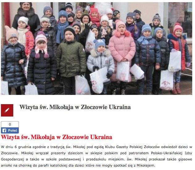 """Kierowany przez Jana Bestrego Klub """"Gazety Polskiej"""" na Ukrainie pochwalił się jak dotąd jednym dokonaniem - wręczono prezenty dzieciom."""