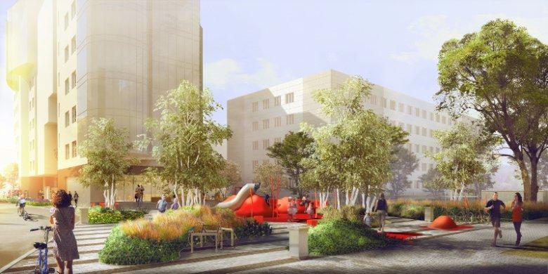 Wizualizacja Zielonego Miejsca Spotkań, ogólnodostępnego miejsca rekreacyjnego, jakie powstanie w okolicy budynków Adgar Plaza przy ul. Postępu 17 na warszawskim Biznesowym Mokotowie