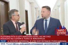 Dziennikarz TVP Info gonił Marcina Kierwińskiego z PO, pytając go o loty Donalda Tuska.