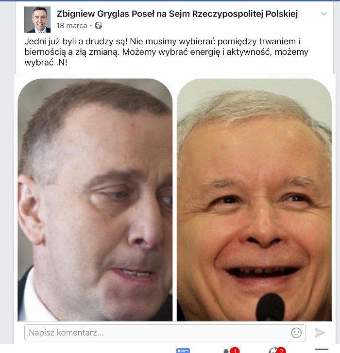 Poseł Zbigniew Gryglas zachwala Nowoczesną.