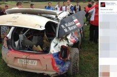 Zdjęcie rozbitego samochodu zostało zamieszczone na facebookowym profilu Roberta Kubicy