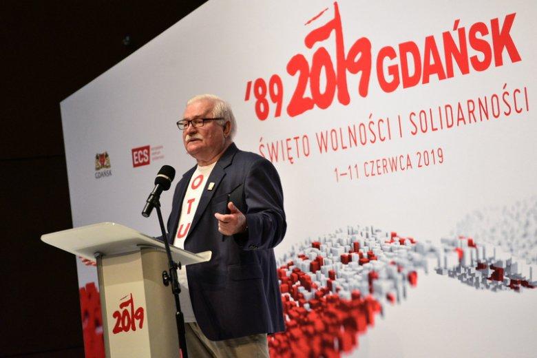 Wałęsa wystąpił w ECS podczas obchodów rocznicy 4 czerwca 1989.
