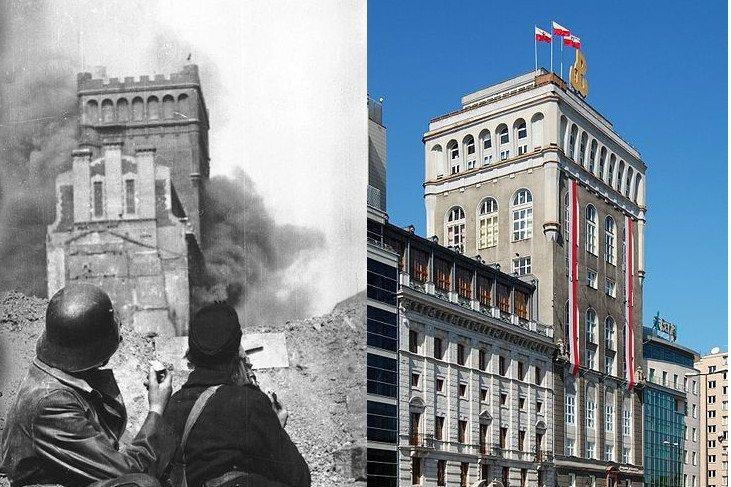 Gmach PAST-y przy ul. Zielnej 39 w Warszawie – w czasie powstania i współcześnie.