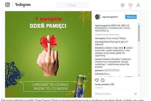 Taki post widniał na profilu Tiger Energy Drink na Instagramie jeszcze w środowe południe. Kiedy zrobiło się o nim głośno, został usunięty.