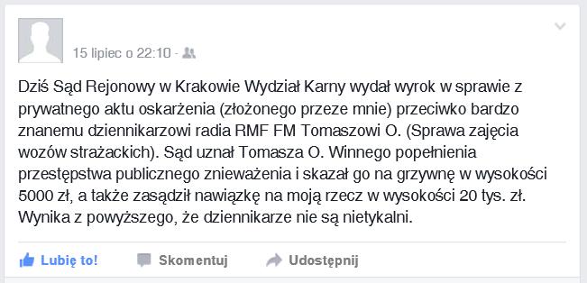 Screen informacji na koncie komornika / Facebook