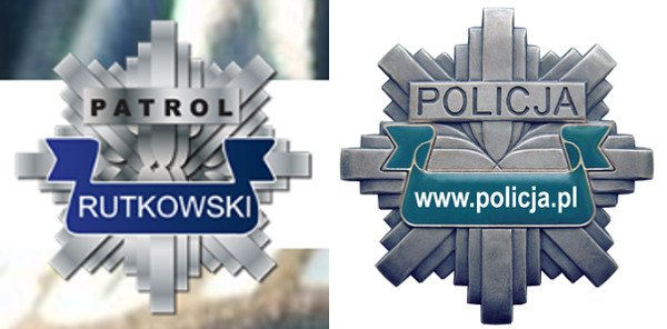 """Krzysztof Rutkowski często krytykuje działania policji, ale nie przeszkadza mu to w prezentowaniu """"blachy"""" łudząco podobnej do policyjnej."""