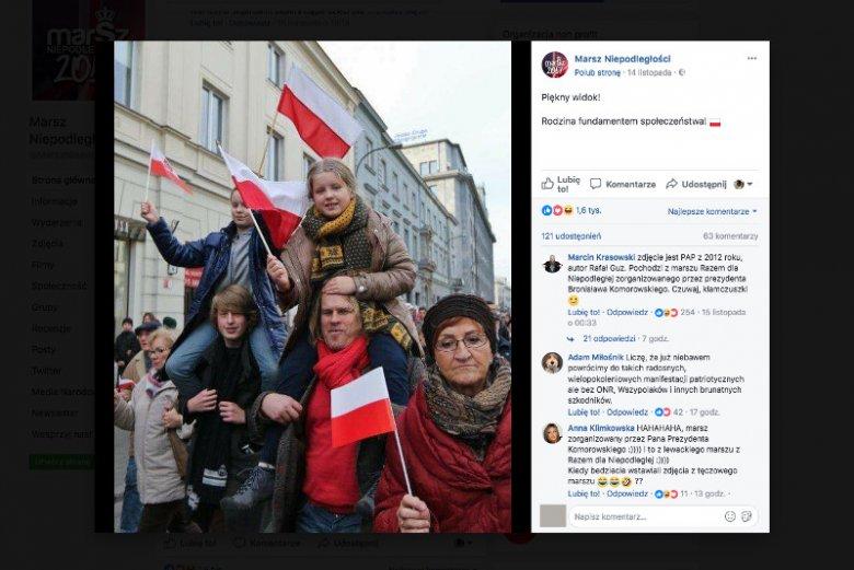 To zdjęcie trafiło na Facebook Marszu Niepodległości. Zrobiono je w 2012 roku podczas innej imprezy. Zupełnie innej.