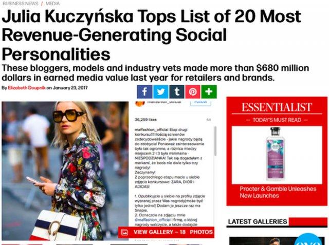 Maffashion została uznana za najbardziej wpływową blogerkę na świecie.
