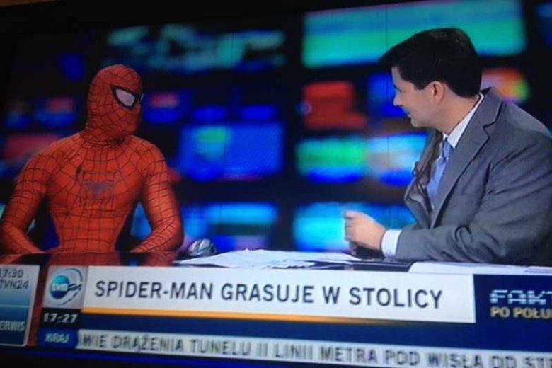 """Kadr z programu """"Fakty po południu"""" w których gościem był warszawski Spiderman"""