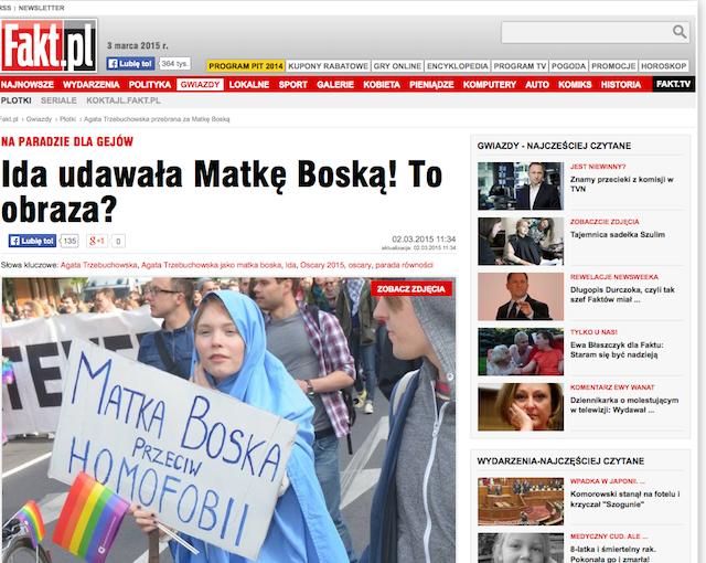 Agata trzebuchowska na paradzie równości w 2012 roku przebrana za matkę Boską.