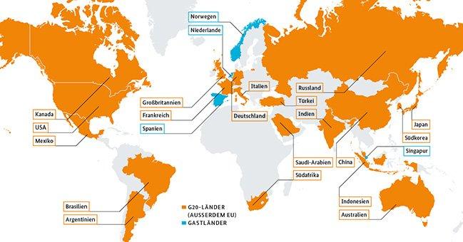 """Tak wygląda oficjalna mapa z uczestnikami i """"gośćmi"""" tegorocznego szczytu G20 w Hamburgu."""